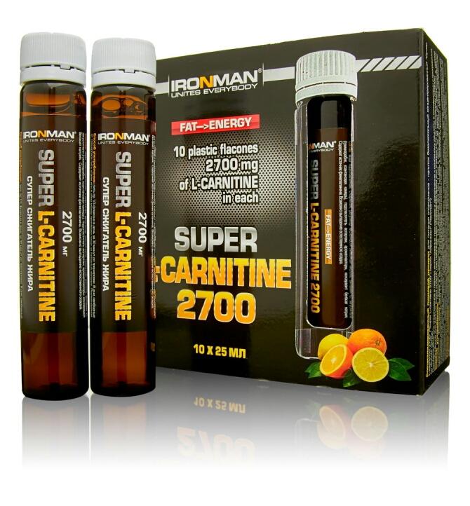 Сжигатель жира Супер L-карнитин 2700 IRONMAN 10 флаконов по 25 мл